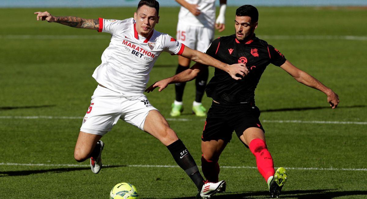 Lucas Ocampos fue clave en el triunfo de Sevilla. Foto: EFE