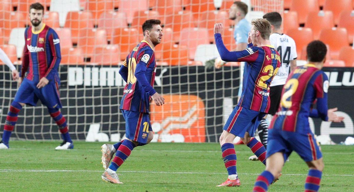 Lionel Messi celebrando con el Barcelona. Foto: EFE