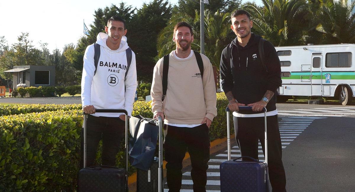 Messi, Paredes y Di Maria llegaron a Argentina. Foto: Twitter @Argentina