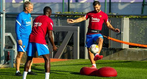 Agüero volvió a entrenar con Barcelona